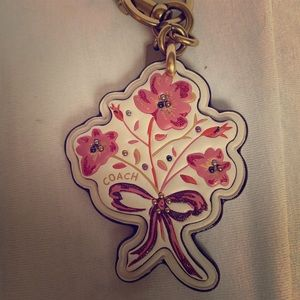 Coach Leather Floral Keychain